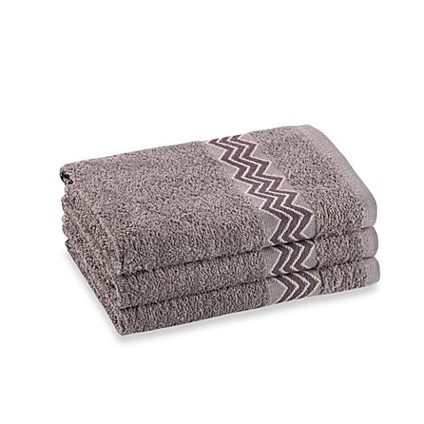 Revere Mills Bathsol Chevron Hand Towels In Grey Pack Of 3
