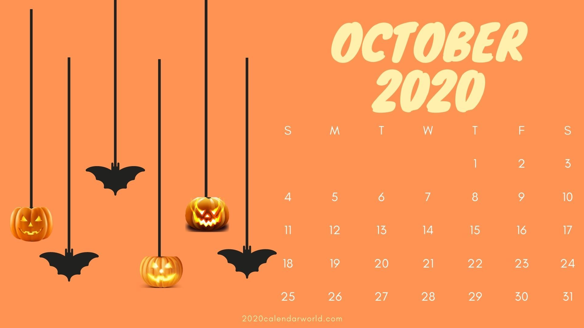 Calendar For October 2020 With Halloween Free Download In 2020 Calendar Wallpaper October Calendar Desk Calendars