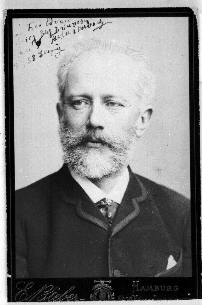 """Tchaikovsky 1888.""""To Mrs. Edvard Grieg, a momento from P. Tchaikovsky""""  (from the Bergen Public Library)"""