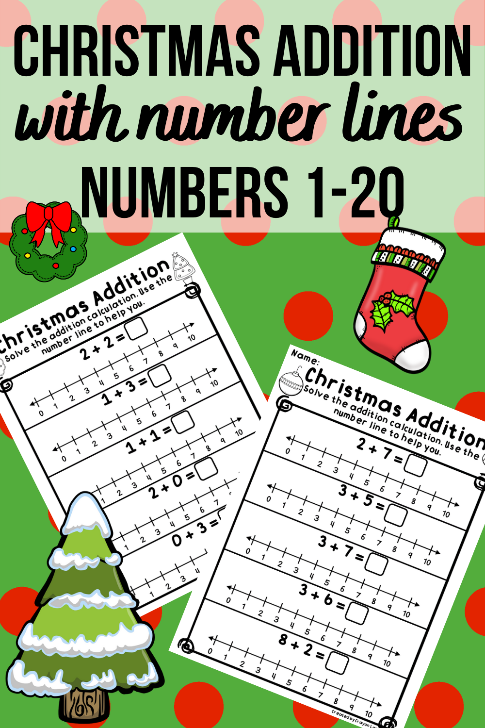 Christmas Addition Using Number Lines Numbers 1 20 No Prep Number Line Christmas Addition Christmas Math