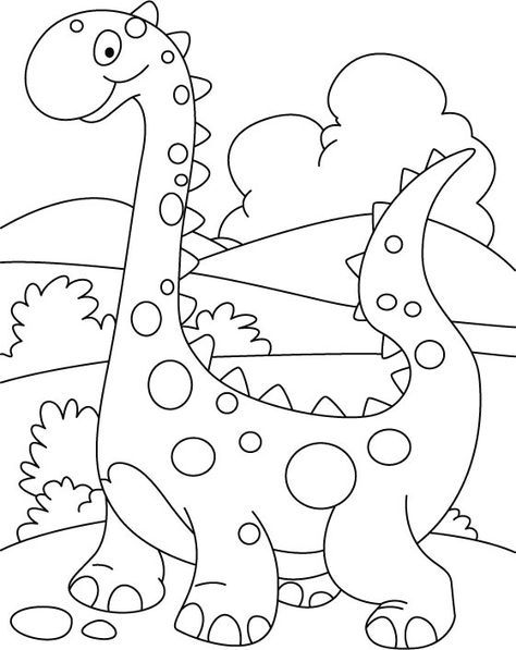 Walking cute dino coloring printout | Kostenlose ...