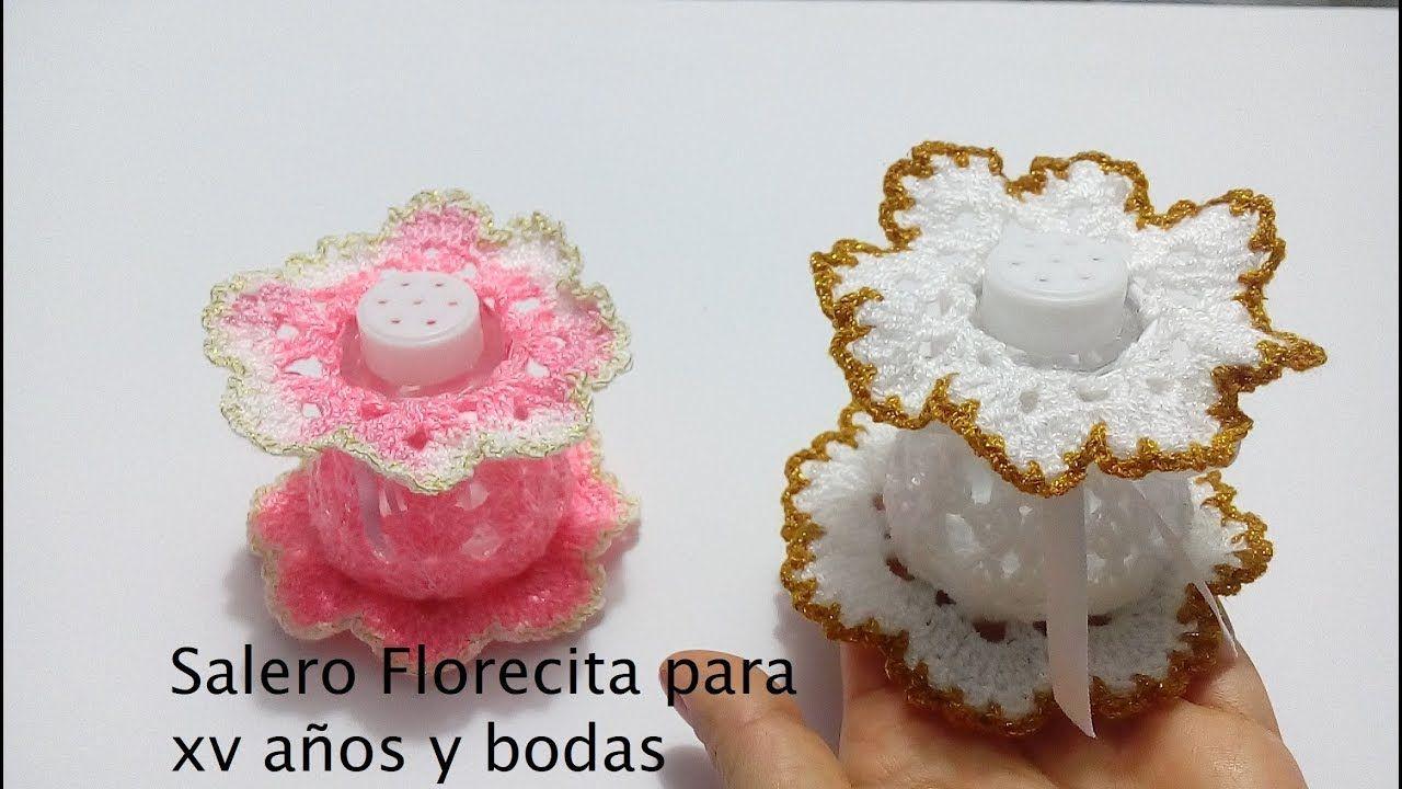 Salero Florecita para xv años y bodas.Crochet | Ganchillo ...