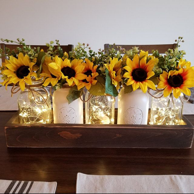 Dining Table Centerpiece Spring Wedding Decor Farmhouse Etsy In 2021 Sunflower Home Decor Sunflower Kitchen Decor Table Centerpieces For Home