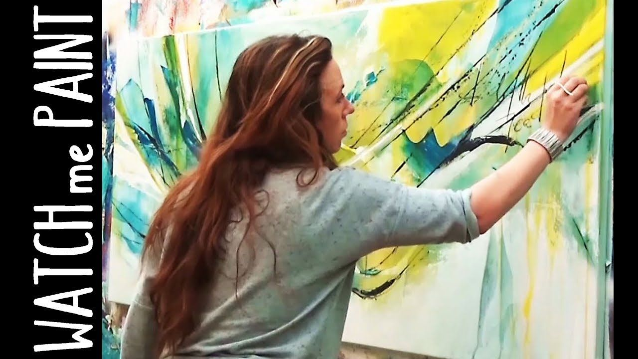Abstract Large Acrylic Painting Demo Speedpainting Timelapse