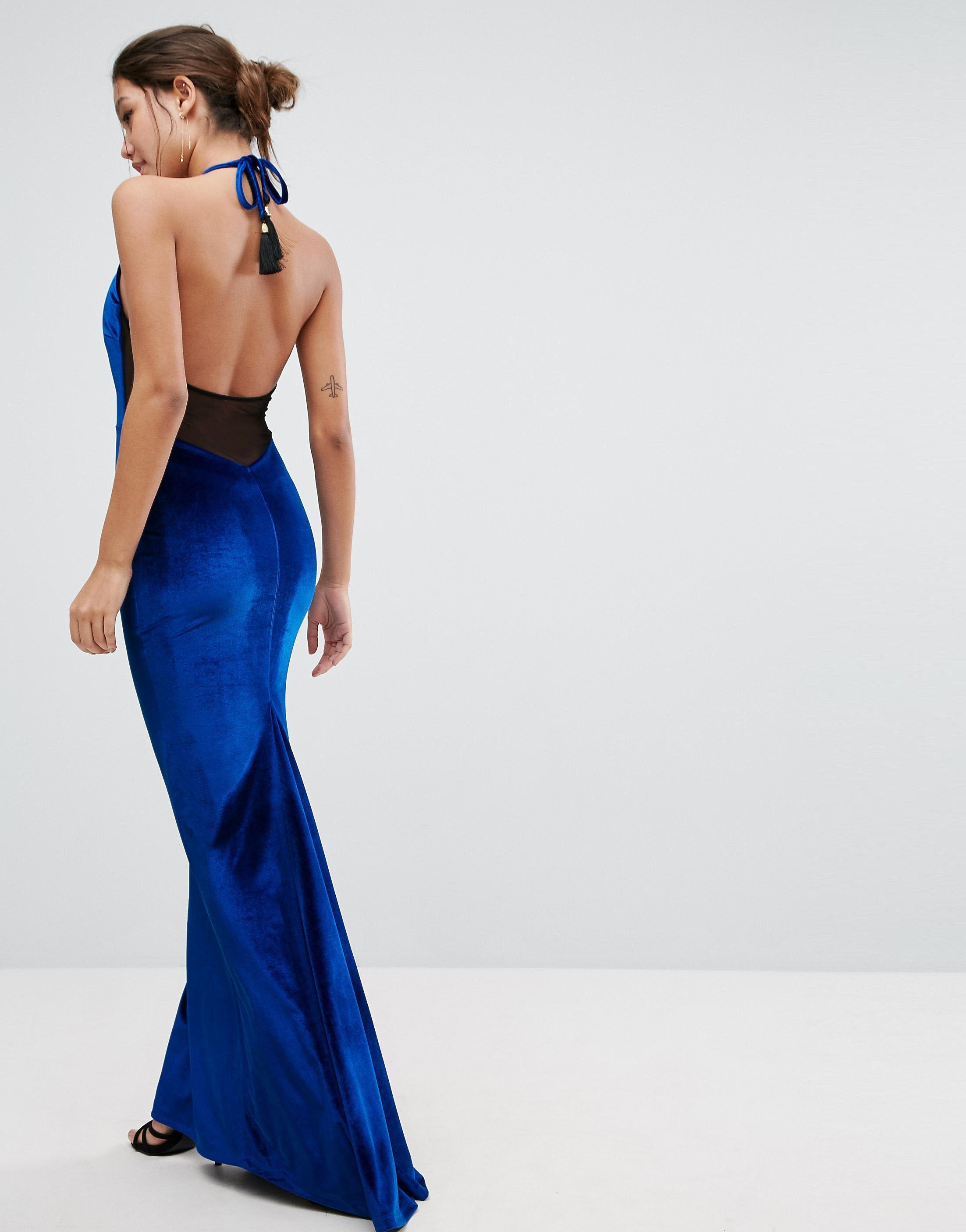 Abiti Da Sera Asos.Asos Velvet High Neck Maxi Dress With Tassel Back Maxi Dress