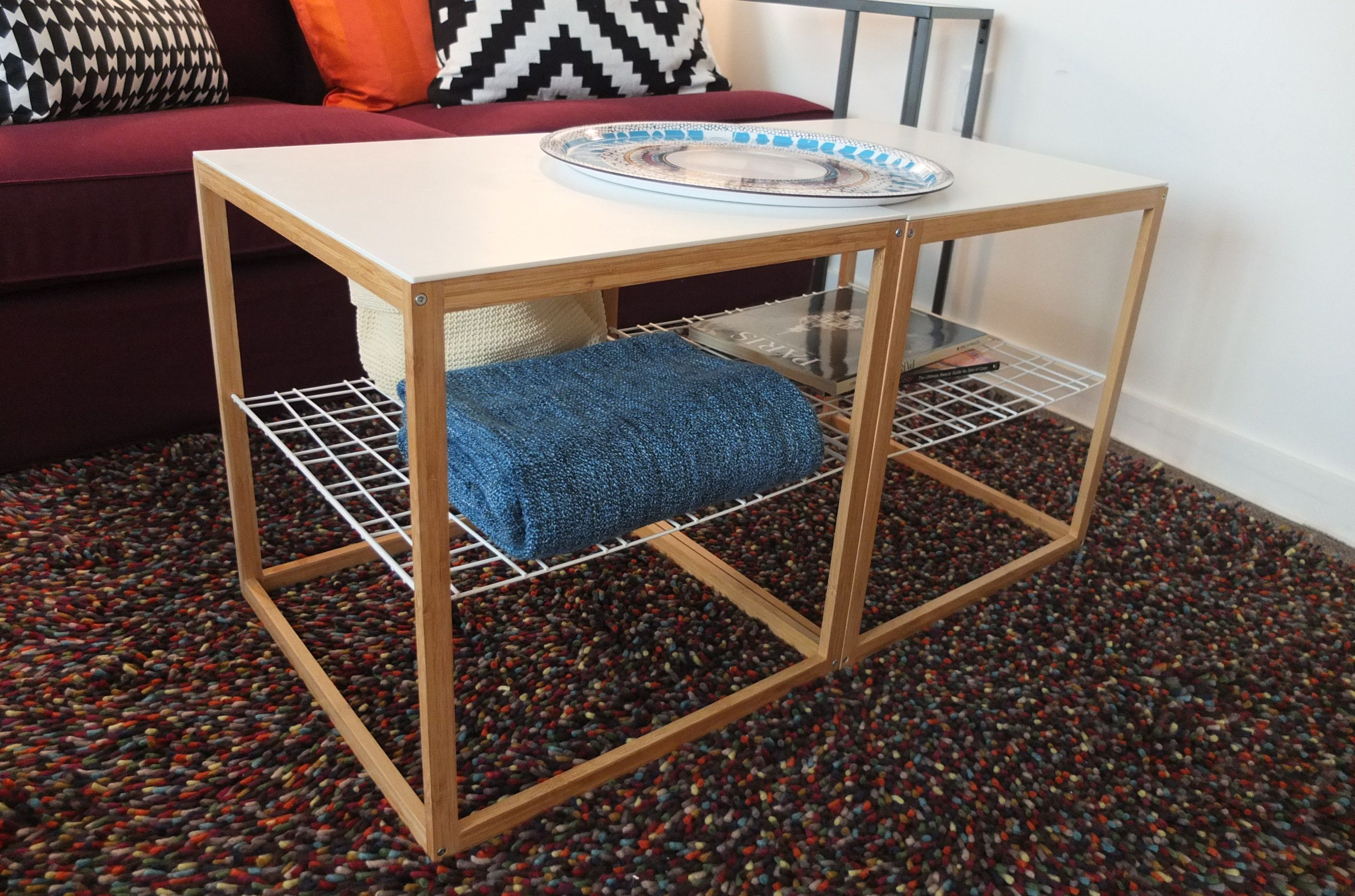 Using two IKEA PS side tables side by side as a coffee table still