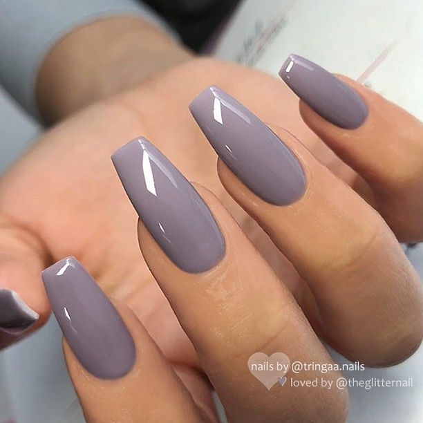 Christmas Acrylic Nails Grey: Round Filed Nails Decoration For Christmas Star Motifs