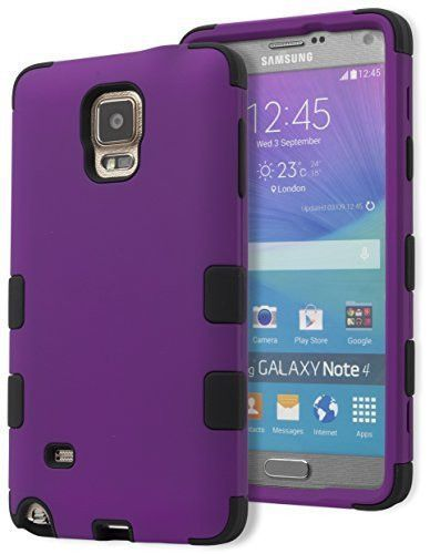 Samsung Galaxy Note 4 Hybrid Shockproof Black Cover Purple Case