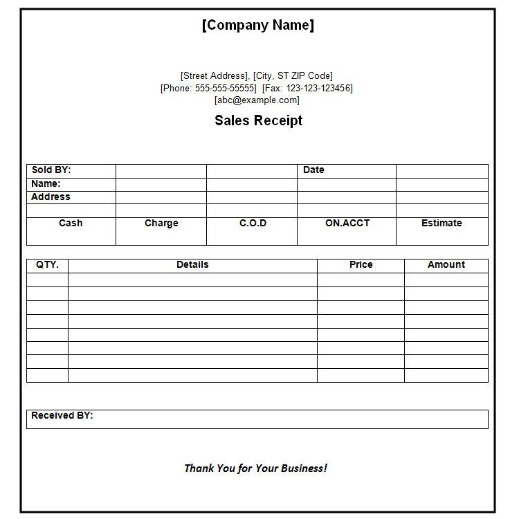 Receipt of Payment Receipt Format Sylvan learning center - cash receipt format word