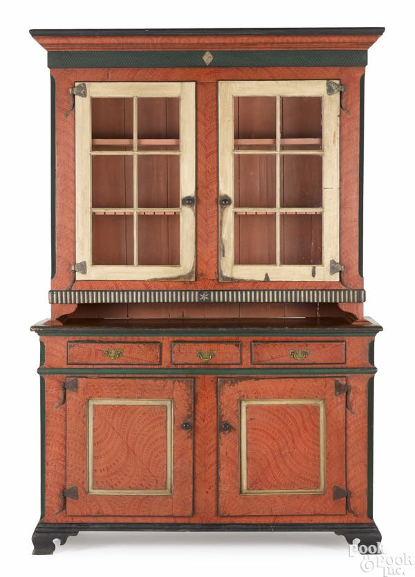 Pennsylvania Painted Pine Two Part Dutch Cupboard Ca