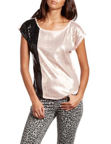 Such a fun shirt: 2-Tone Sequin Knit Tee #Charlotte Russe