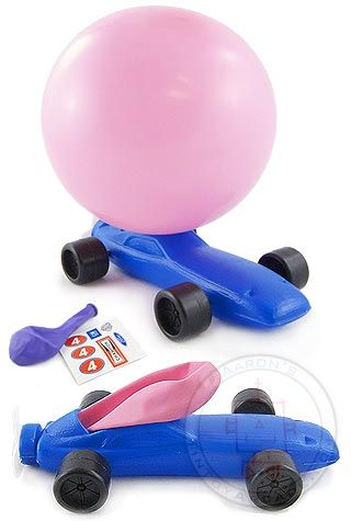 Balloon Powered Indy Race Car Orange Balloon Party
