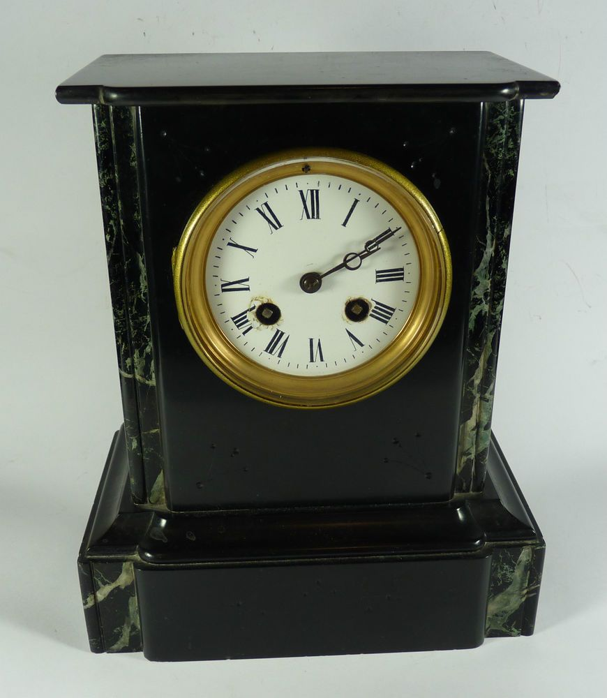 Antique French Japy Freres Marble Black Slate Case Mantle Clock Working Mantle Clock Clock French Antiques