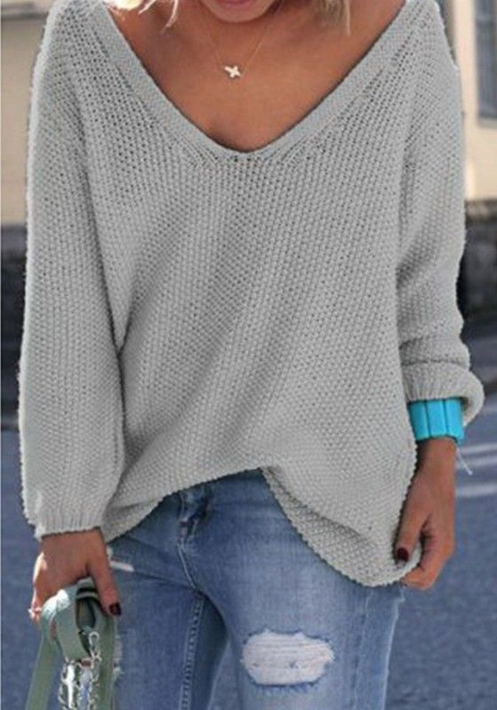 66fe6992aa30 Pull en maille tricot décolleté col V manches longues oversize ample gris  femme