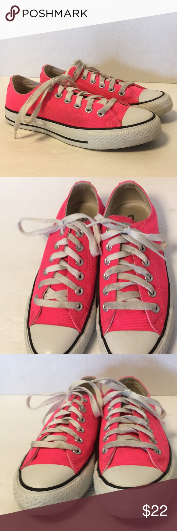 11517d875cb5 PINK Converse low rise Lace Up Sneakers Neon! Bright pink! Unisex Men s Size  5   Women s Size 7 Converse Shoes Sneakers