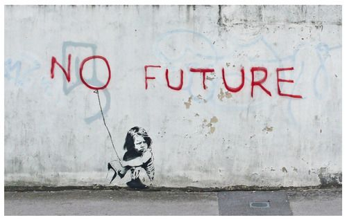 "This is my favorite #banksy. Most people I know look at it and say it's the saddest one, to see the little girl with ""no future."" But it inspires me because the fact is, the tomorrows keep coming. She does, actually, have a future, just like she has a today, and today has a balloon. Will that balloon last until tomorrow? Regardless, there is a tomorrow for her and for the rest of the world, so there's hope, even if people can't find it."