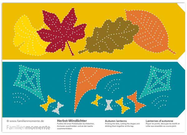 Herbst Windlichter Zum Prickeln   Bastelbogen Mit Zwei Windlichtern Mit  Blättern Und Drachen   Herbstzeit