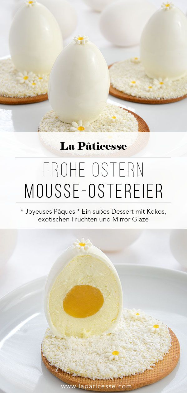 Photo of Oeufs de Pâques blancs White Easter eggs with coconut and exotic fruits