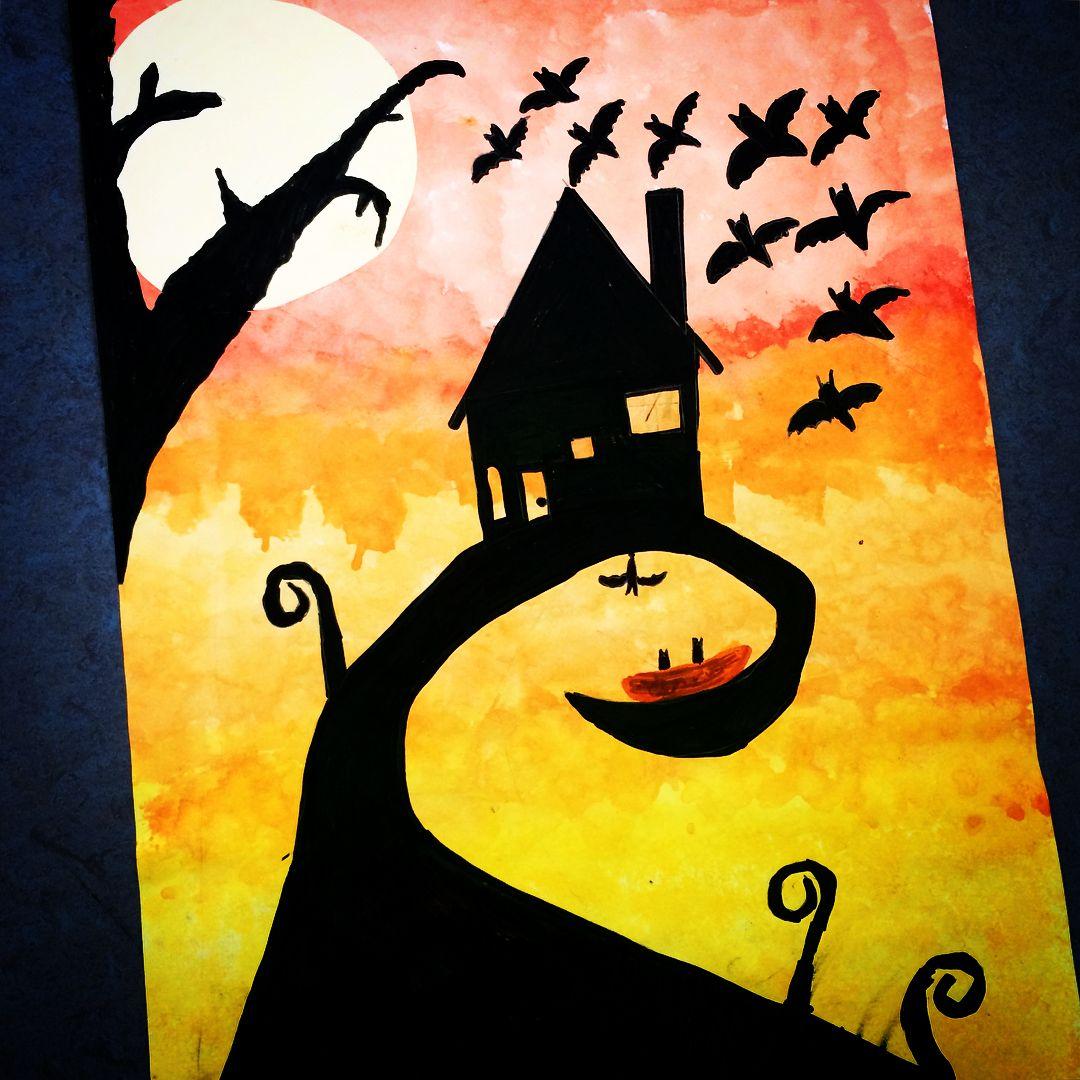 Vor Einiger Zeit Habe Ich Bei Froschklasse Werbung Diese Tolle Idee Zu Gruseligen Halloween Bildern Gese Halloween Bilder Grundschullehrer Kunst Grundschule