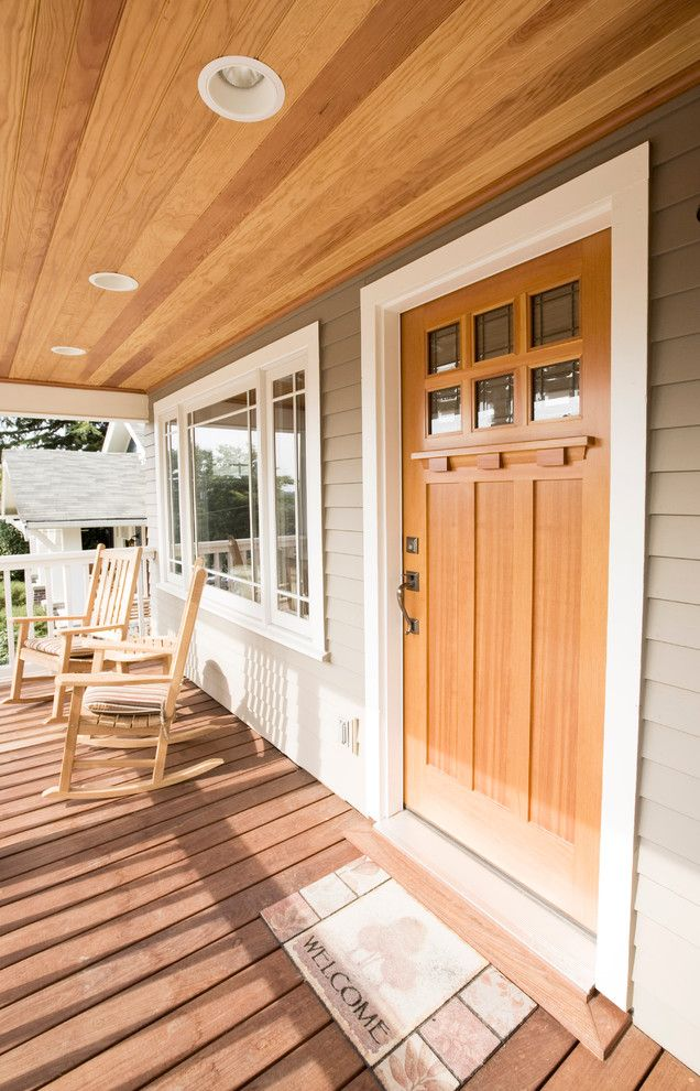 Craftsman Front Doors Craftsman Porch Facade House: Craftsman Style Front Door Wood Floor Ceiling Lights Rocking Chairs Window Small Table Of