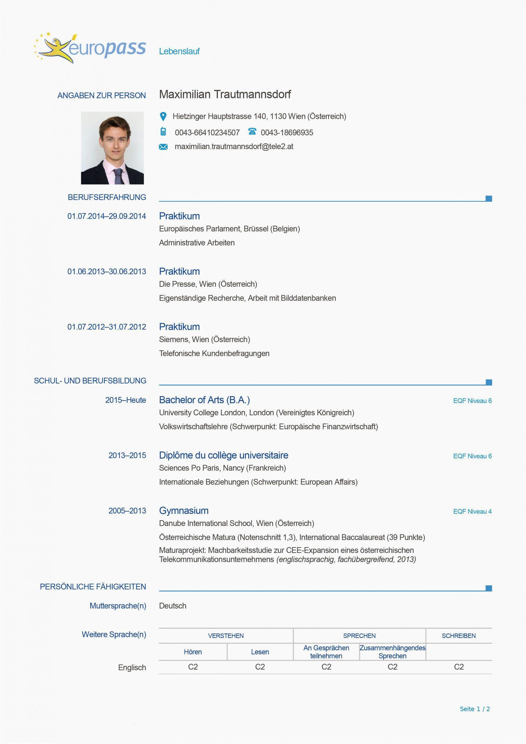 Lebenslauf Europass Deutsch Muster In 2020 Lebenslauf Perfekter Lebenslauf Vorlagen Lebenslauf