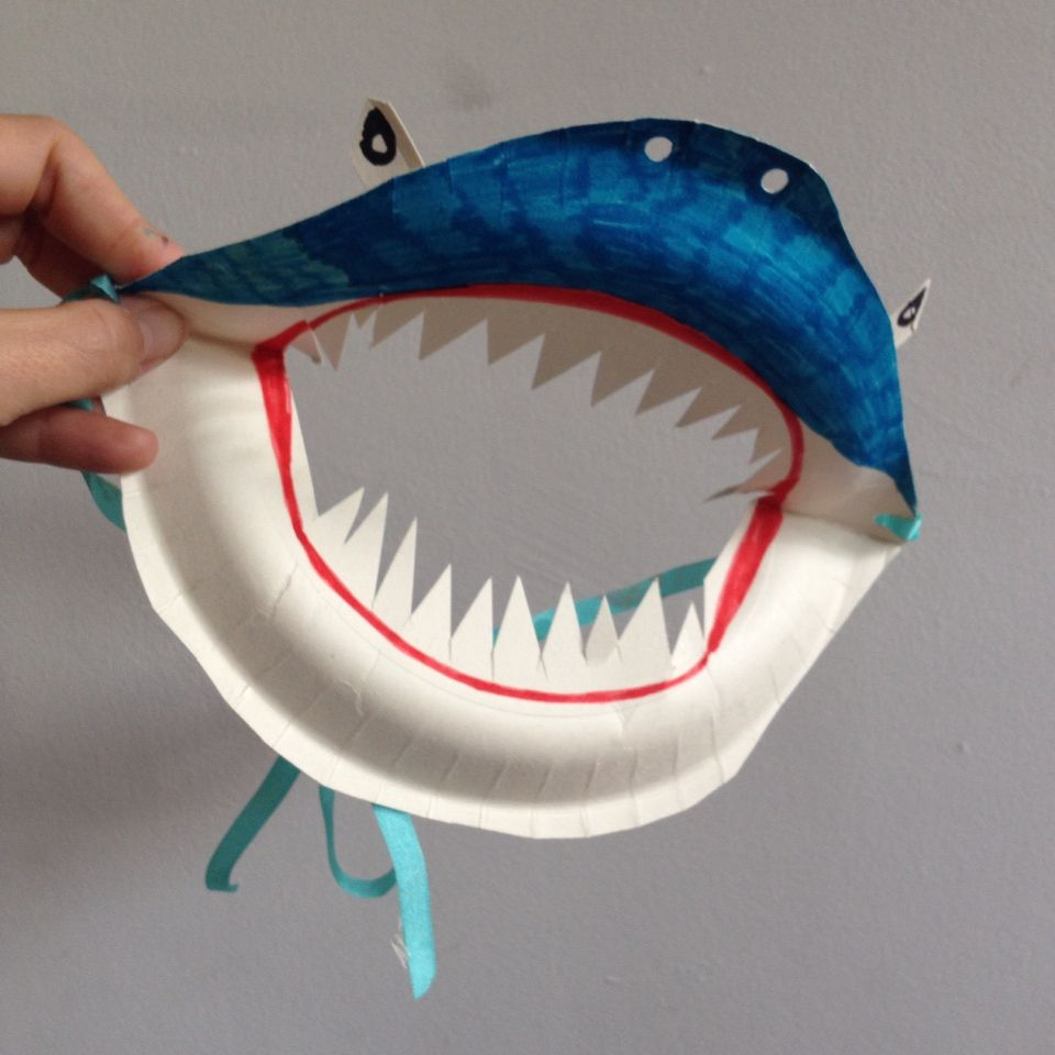 Paper plate shark mask … (With images) | Paper plate crafts for ...