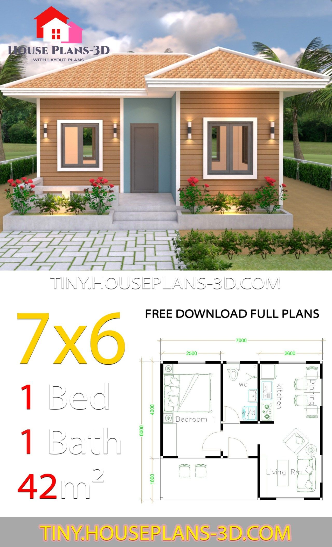 Tiny House Plans 7x6 With One Bedroom Hip Roof Tiny House Plans Small House Design Small House Design Philippines Small House Design Exterior