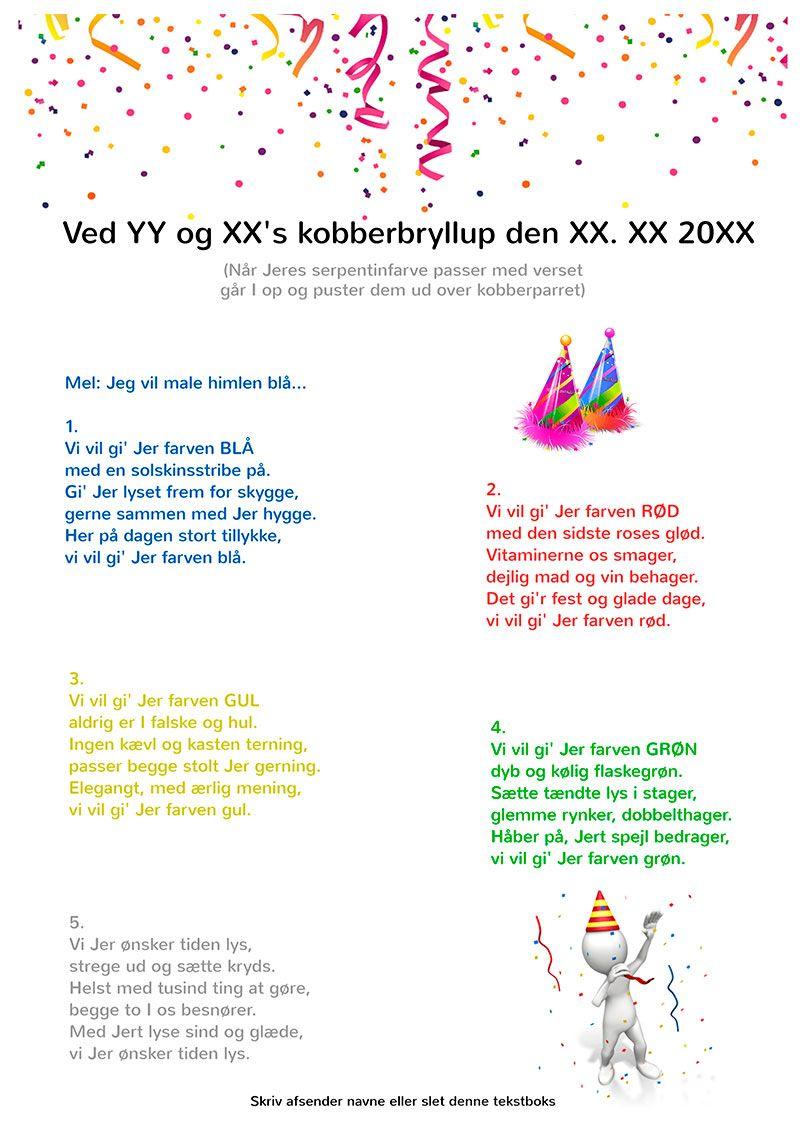 Kobberbryllup Festsange Med Mere Bryllupssange Solvbryllup Fest
