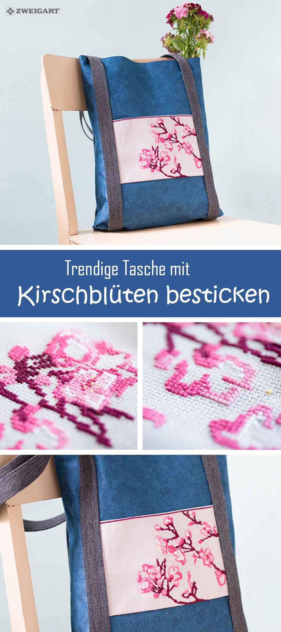 Tasche mit Kirschblüten besticken #DIY / #Sticken #Kreuzstich ...