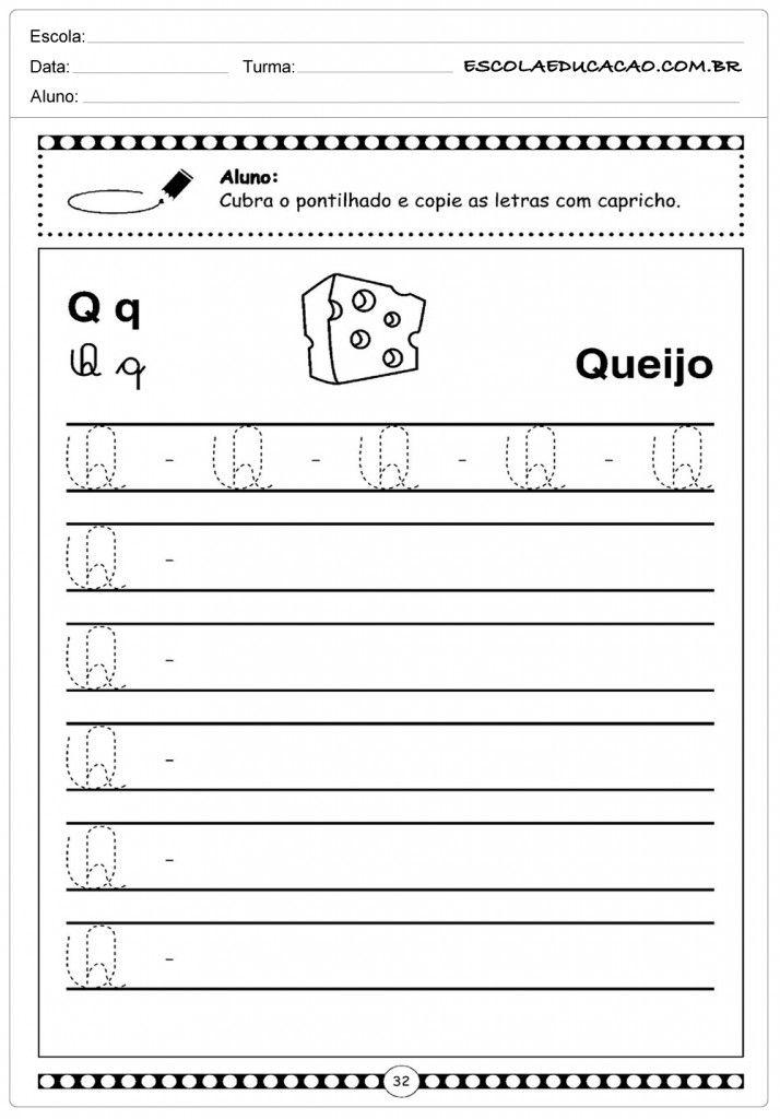 Letra Q Queijo Atividades Letra E Alfabeto Cursivo