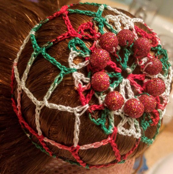 Christmas red, green, and white crochet bun cover snood with beads