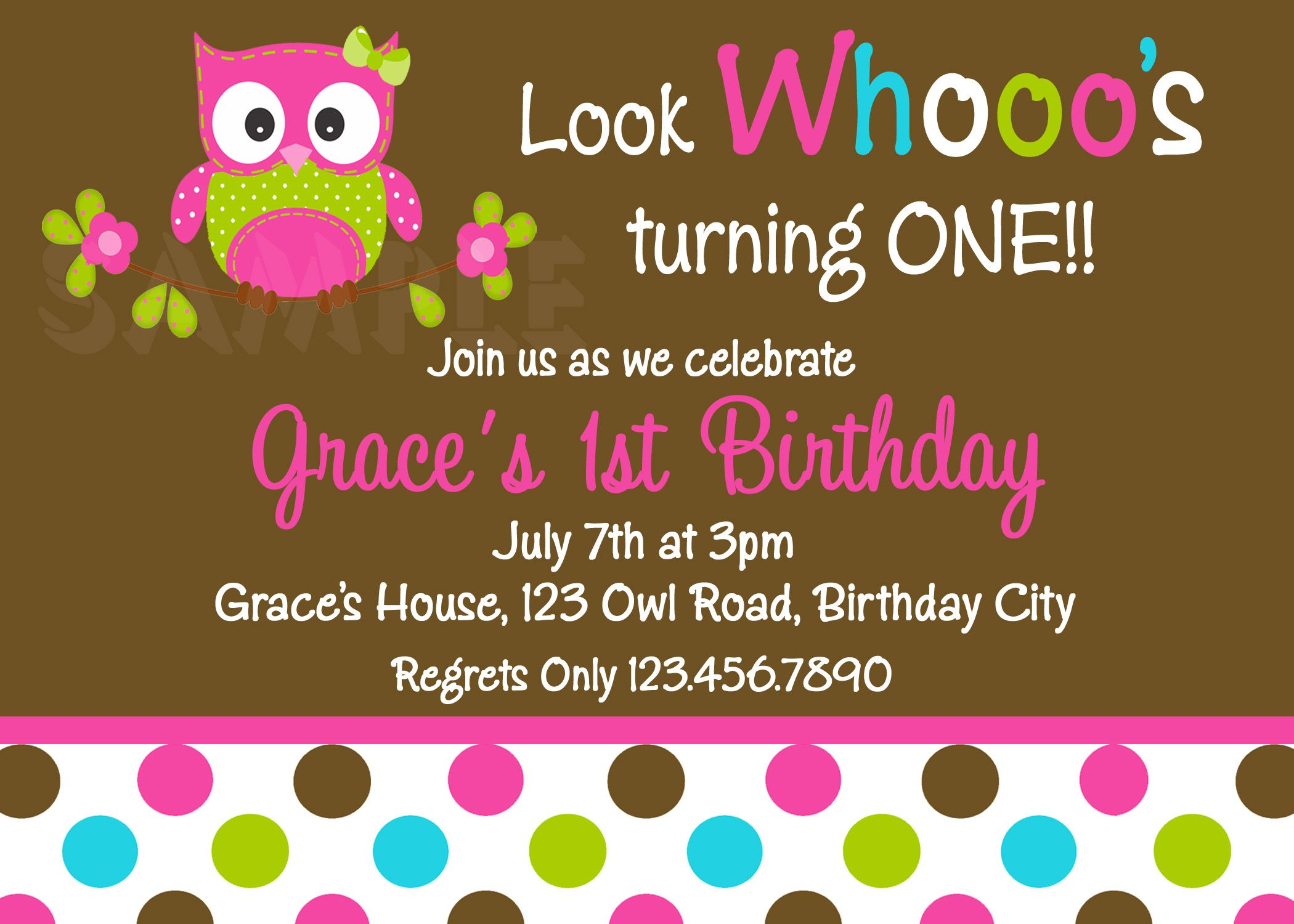 Polka Dots Owl Birthday Invitation Facebook 1st Birthday Party
