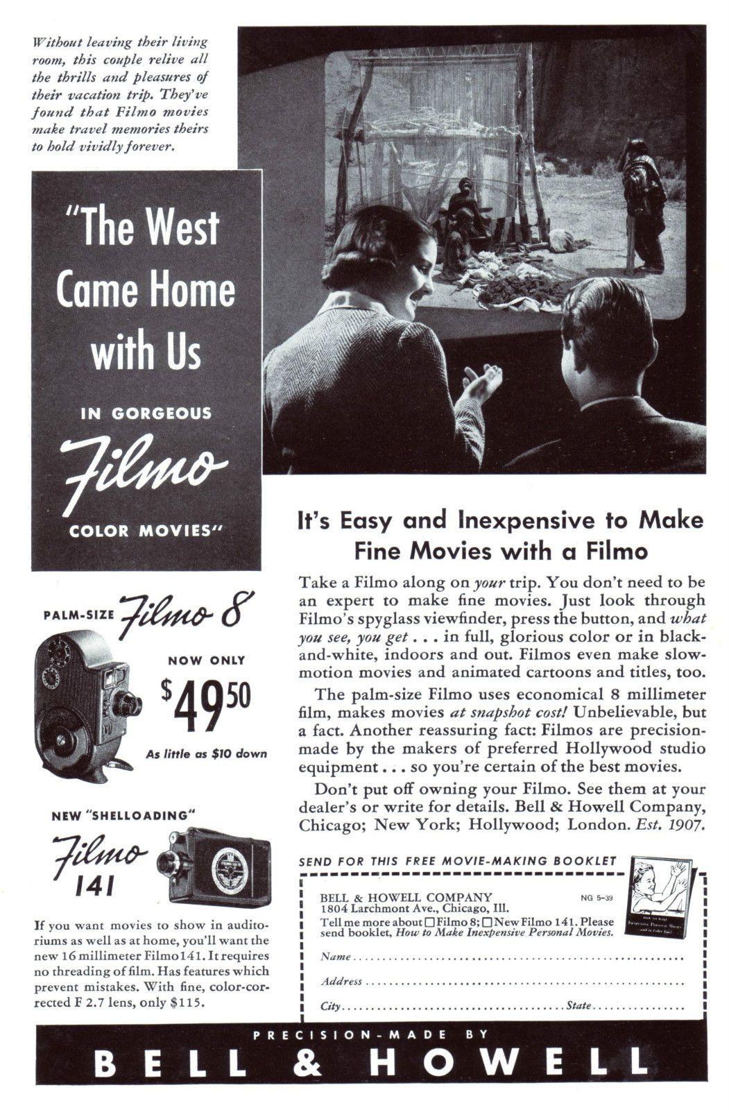 Original-Werbung/ Anzeige (USA) 1939 - FILMO 8 COLOR MOVIES / BELL & HOWELL | eBay