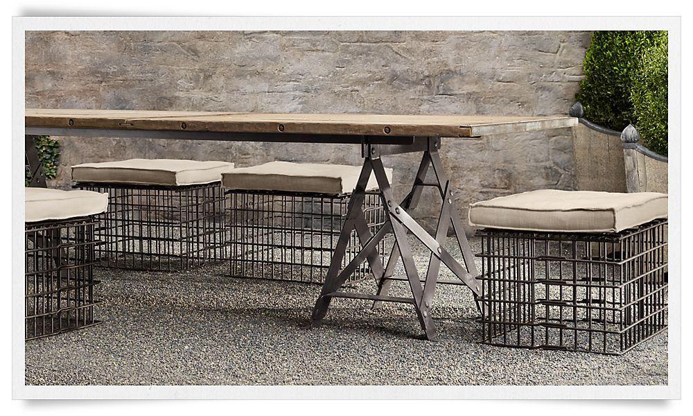rooms restoration hardware outdoor living pinterest rh pinterest com industrial patio furniture canada industrial outdoor furniture