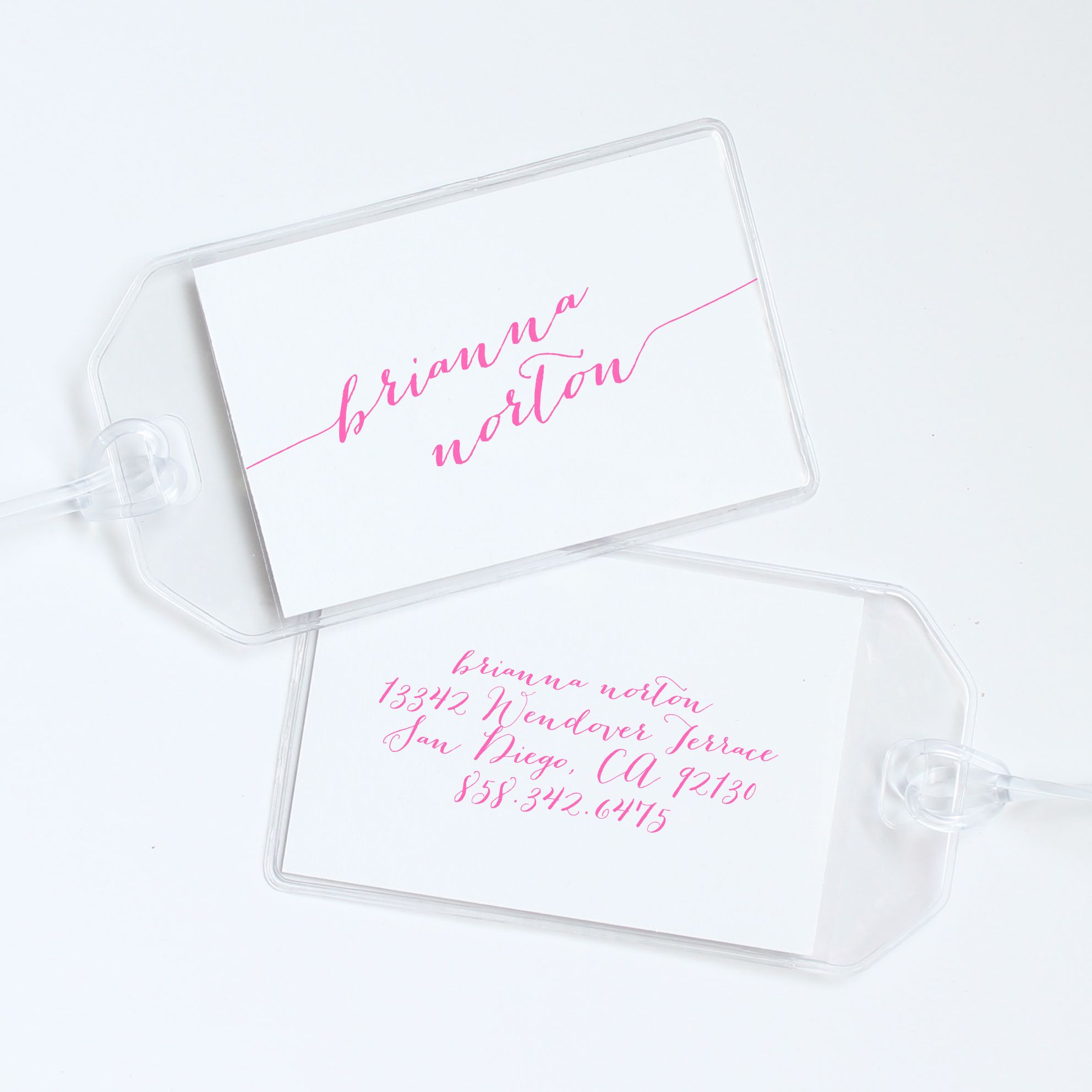 Modern Calligraphy Personalized Luggage Tag | Letters, Pink paper ...
