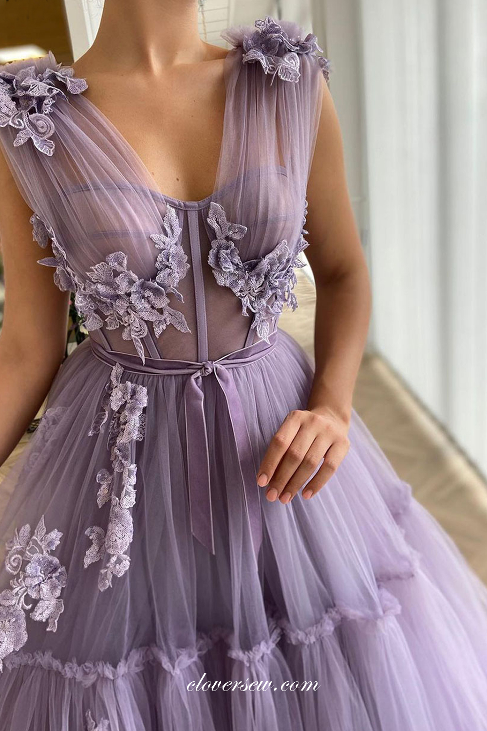 Lilac Prom Dresses Floral Appliques Prom Dresses A Line Prom Dresses Cp0071 From Cloversew In 2021 Boho Prom Dress Floral Prom Dresses Purple Prom Dress [ 1500 x 1000 Pixel ]