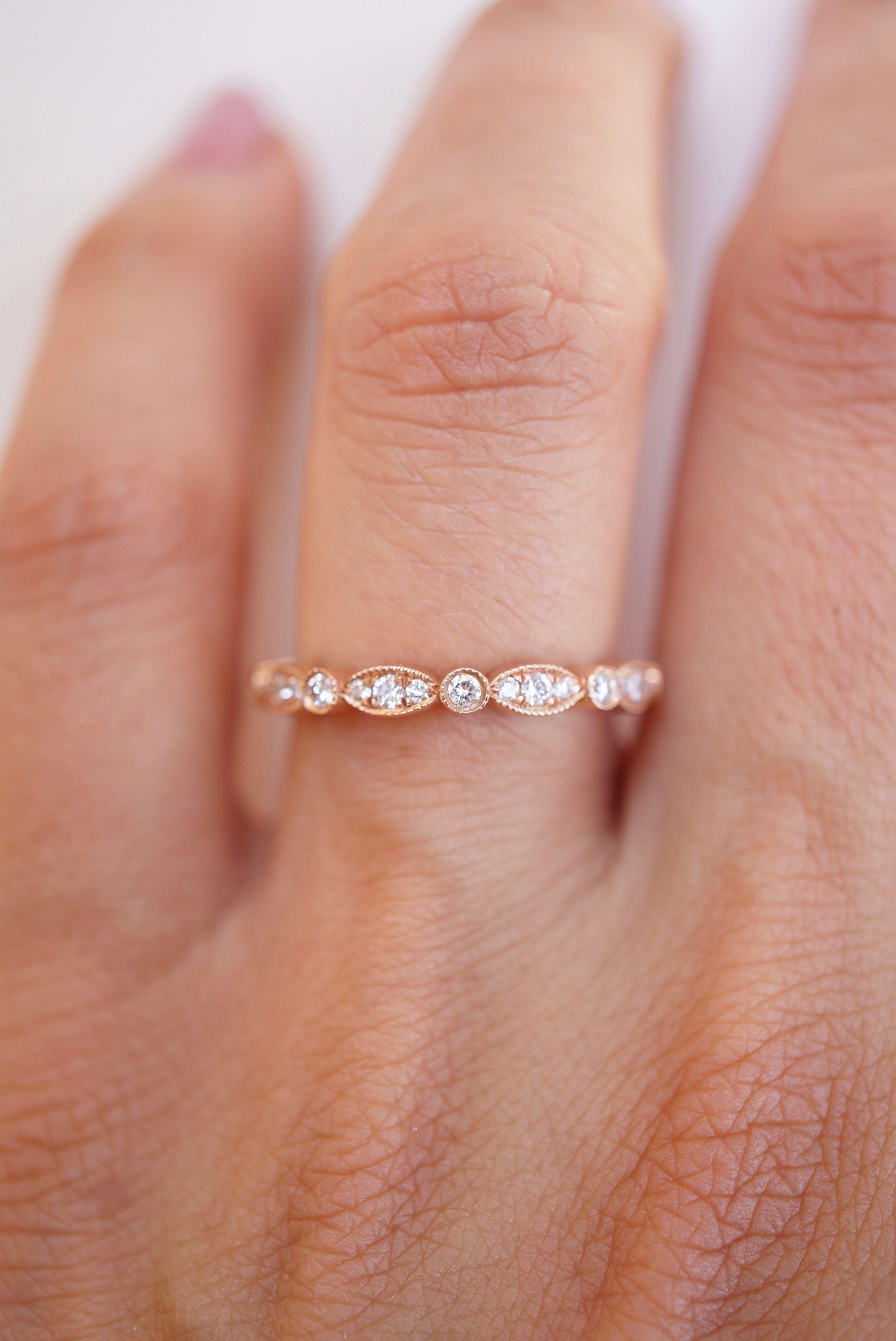 Petite Marquise And Round Diamond Band Rose Gold Engagement Ring Gold Diamond Wedding Band Rose Engagement Ring