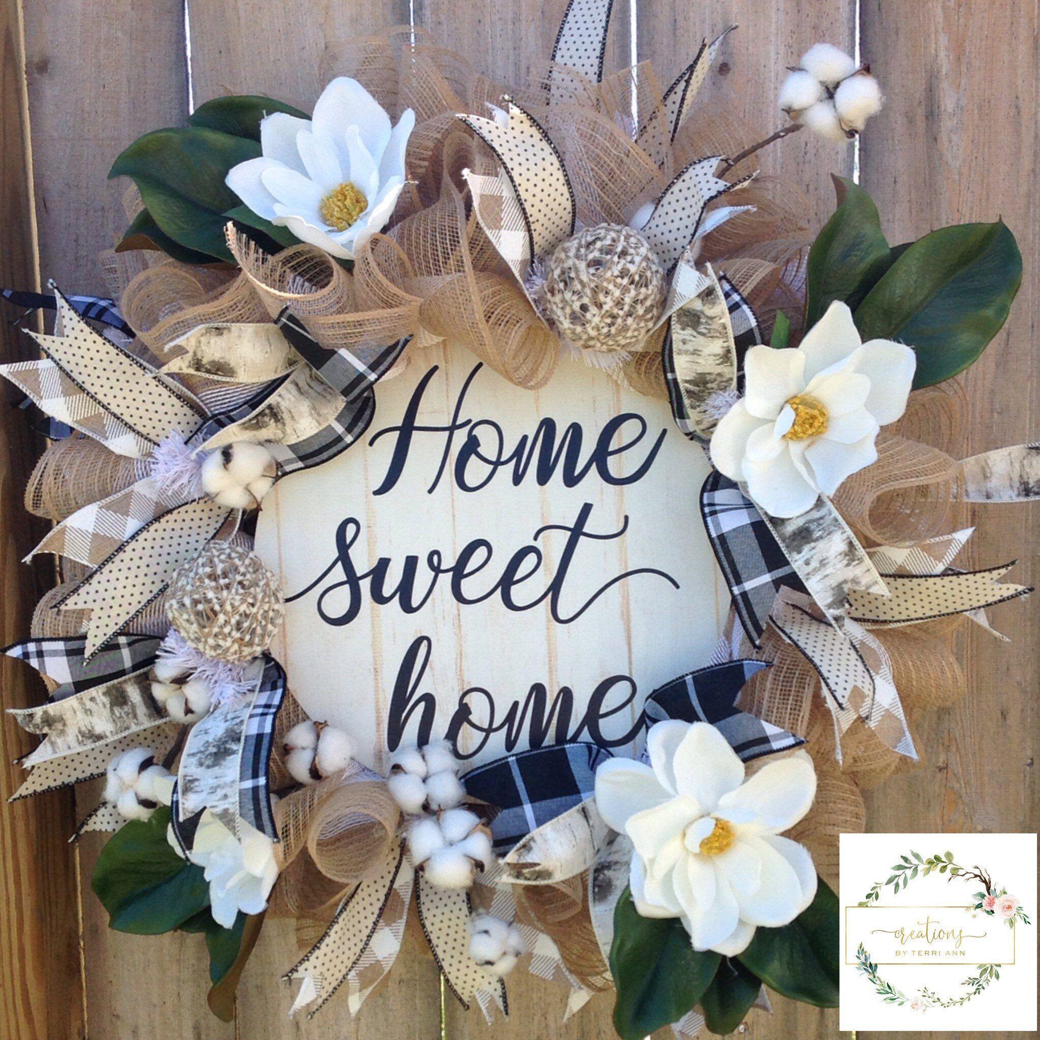 Photo of White wreath of magnolia. Magnolia leaf wreath. Magnolia wreath. Cotton wreath. Peasant wreath. Burlap wreath. Farmhouse chic decor XL wreath