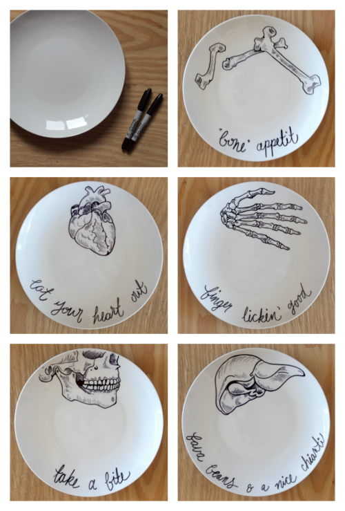 This could be nerdy awesome! I can review my anatomy while eating.  Identify the parts here and there #sharpieplates