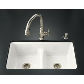 kohler deerfield doublebasin undermount enameled cast iron kitchen sink has low divider