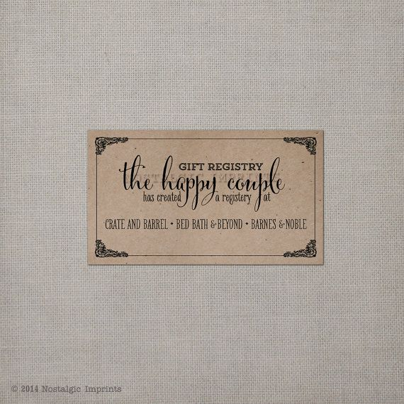 Wedding Invitation Gift Registry Wording: 100 Wedding Registry Cards RC0002 By NostalgicImprints On