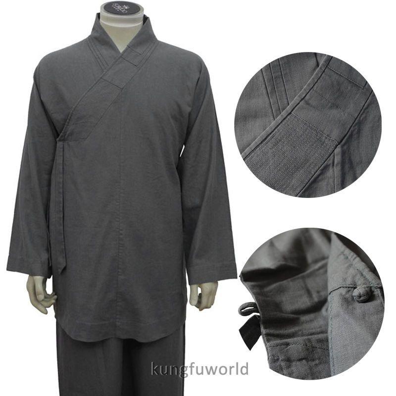 0b61ec149 Top Quality Thick Linen Shaolin Arhat Monk Uniform Kung Fu Suit Meditation  Robe | eBay