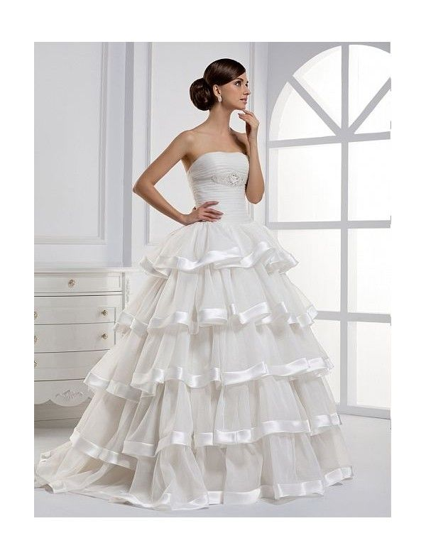 Organza and satin strapless a line wedding dress with for Organza layered wedding dress