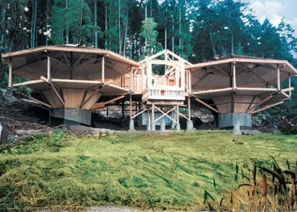Post and Beam Octagon Home Building on a Double Pedestal | House