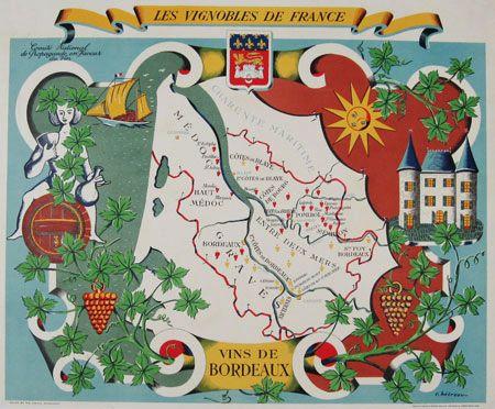 Les Vignobles De France - Vins De Bordeaux original vintage poster by Hetreau from 1936 France