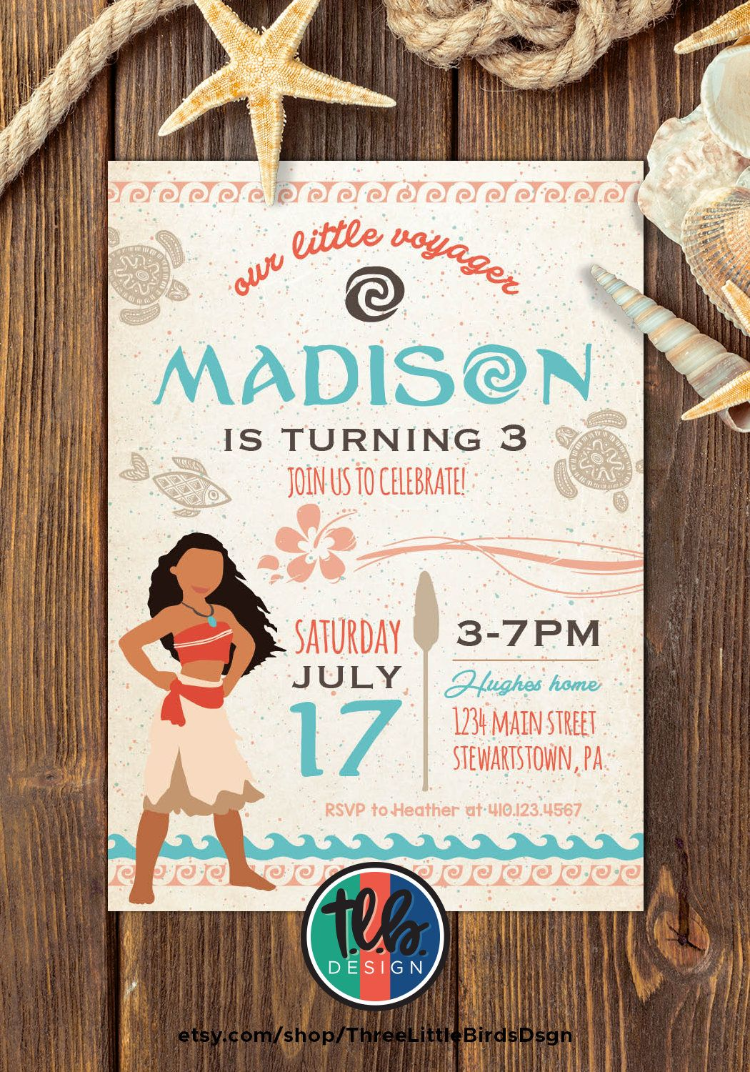 Moana Birthday Invitation Invite Girl 1st