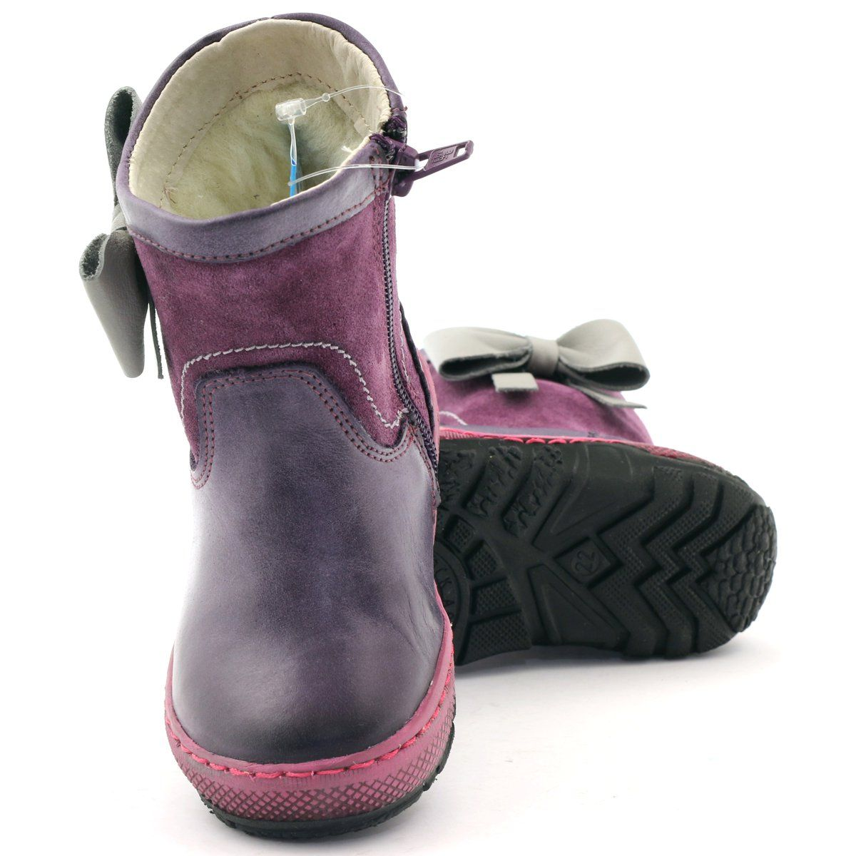 Kozaczki Dziewczece Kokarda Ren But 1458 Szare Fioletowe Boots Rubber Rain Boots Rain Boots
