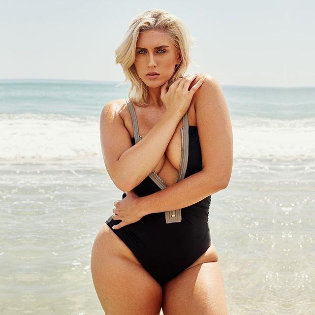 d79d91fe810 Plus size model   curvy enthusiast  sophiesselfies224 wearing our Timothy  Snell Elizabeth Zip Front Plus Size Swimsuit  beachbabe