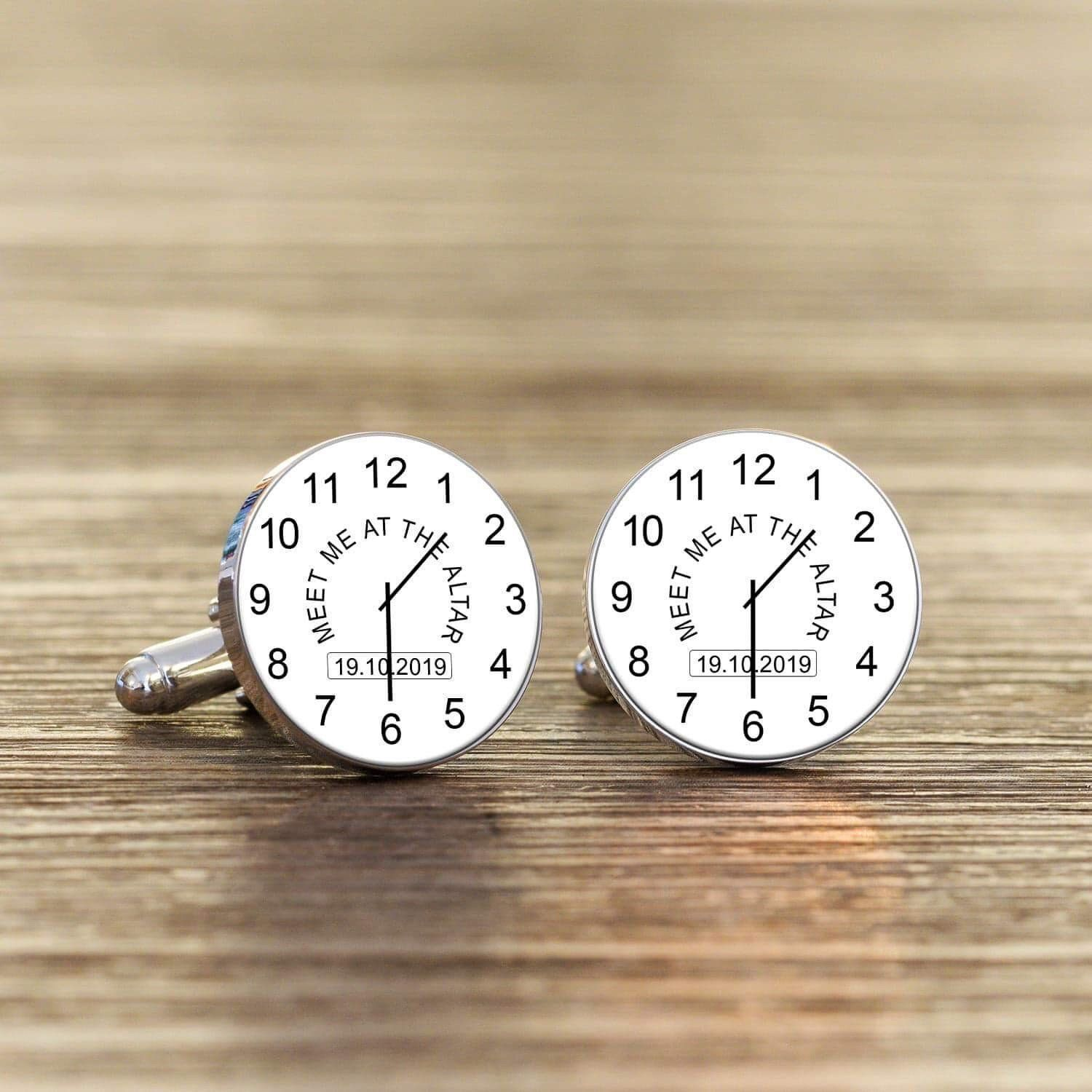 Personalised Wedding Groom Gift Cufflinks Clock Meet Me At The Altar In Box