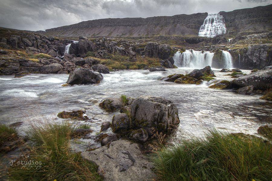 Dynjandi Falls is an art print of the series of waterfalls in Westfjords, Vestfirðir, of Iceland.
